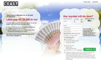 Leasy.se erbjuder lån upp till 25,000 kronor.