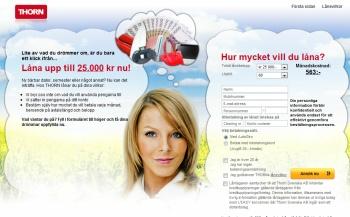 Thorn.se erbjuder privatlån upp till 50,000 kronor.